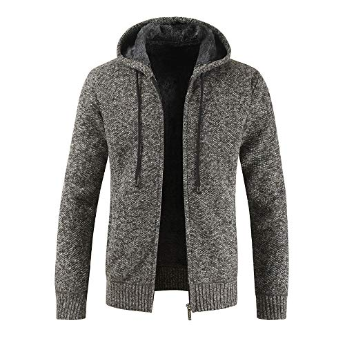 Xmiral Herren Stricken Jacke Mantel Lässige Zipper Kordelzug Hoodie Outwear Pullover (M,Dunkegrau)