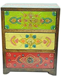 Elegant Multicolored Wooden Jewellery Box Handpainted/Wooden Chest of Drawer/3 Drawers/Wooden Vanity Box