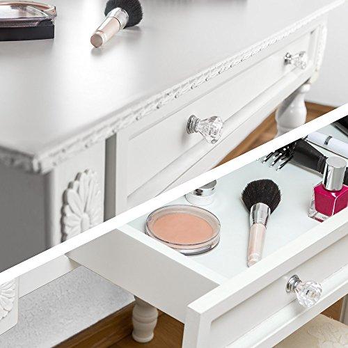 TecTake Schminktisch weiß mit Hocker und 3 Spiegeln aus Holz, geräumige Schublade zur Aufbewahrung von Kosmetik und Haarpflegeprodukten - 4