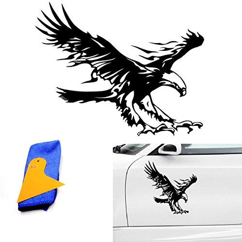 """ABY (Lot de 1voiture rouge Aigle Oiseau Volant en vinyle avec grattoir Installer et chiffon de nettoyage pour voiture van fenêtre capuche Casque, toit de voiture, moteur, mur, voiture pneu cover-19.68""""X 50cm"""