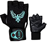#9: XTRIM - MACHO X - LEATHER GYM WORKOUT GLOVES - BLACK ( M / L / XL ) WRIST WRAP GLOVES - For Men -Washable Real Leather, Durable, Double Stitched, 4-way Stretch Mesh, Half Finger Length, No Sweat, Extra Foam Padded, Luxurious Wrist Wrap.