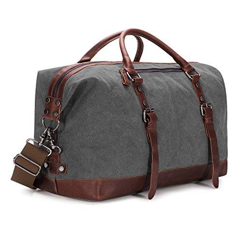 BAOSHA HB-14 Borsone da Viaggio per Sport di tela e pelle sintetica Uomo Donna Vintage Borsa Weekend Bag Borsa a tracolla di tela Casual Viaggi Tote Deposito Satchel Handbag Vagabondo Borsoni (Grigio)