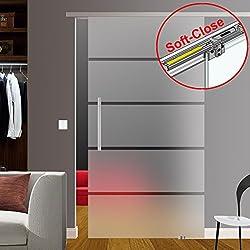 inova Glas-Schiebet/ür 900x2035mm vollfl/ächig satiniert 8mm Komplett-Set Schiebet/ürbeschlag optional Softclose