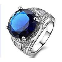 Men's White Gold Plated Ring with Blue Sapphire Gemstone Size US 8
