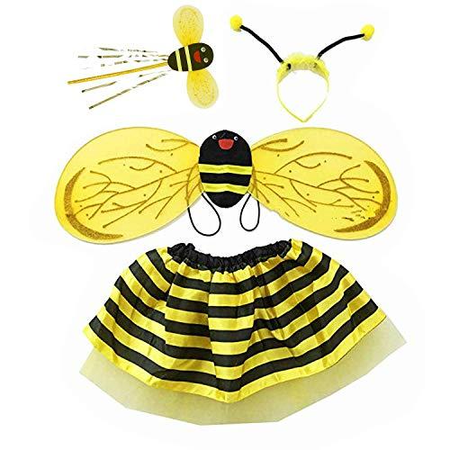 Honig Biene Kostüm Kinder - Fulfun 4 Stück Hummel Honig Mädchen Kinder Fee Halloween Kostüm Party Kostüm