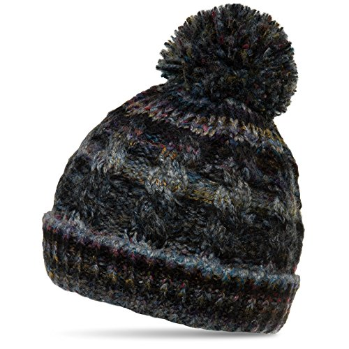 CASPAR MU170 Gefütterte Damen Vintage Winter Mütze Bommelmütze multicolor, Farbe:schwarz;Größe:One Size