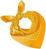 Tobeni 548 Damen Herren Nickituch Kopftuch Bandana Halstuch Baumwolle Unisex Farbe kleine Punkte Gelb Grösse 54 cm x 54 cm
