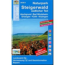Naturpark Steigerwald Süd 1 : 50 000: Aischgrund, Bad Windsheim, Erlangen, Fürth, Kitzingen. Mit Wanderwegen, Radwanderwegen, Gitter für GPS-Nutzer Karte Freizeitkarte Wanderkarte
