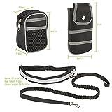 SlowTon Freisprecheinrichtung für Hundeleine, verstellbare reflektierende atmungsaktive Mesh-Taille, elastische Bungee-Leine mit Handytasche, Reißverschluss-Tasche für Laufen, Joggen