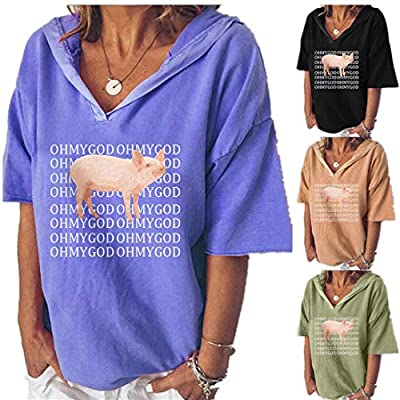 Yvelands Damen Mode mit Kapuze T-Shirt Tops Casual Kurzarm V-Ausschnitt Brief drucken Bluse