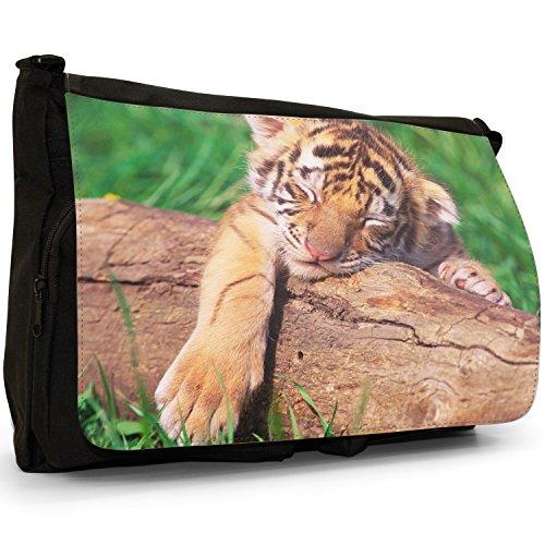 Selvatici Tiger–Borsa Tracolla Tela Nera Grande Scuola/Borsa Per Laptop Tiger Cub Sleeping