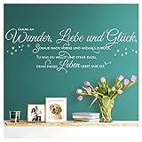 WandtaL Wandtattoo Spruch Glaube an Wunder Liebe Glück I wei? (BxH) 160 x 45 cm I Flur Wohnzimmer Aufkleber Wandsticker Wandaufkleber