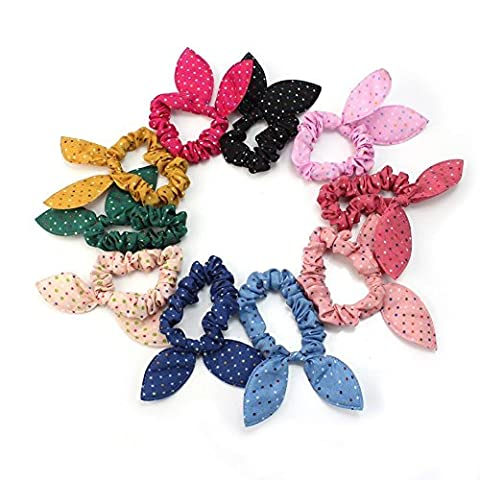 Haobase 12x Cute Women's Dot Rabbit Ear Hair Bow Tie Bands Chiffon Ponytail Holder Hot