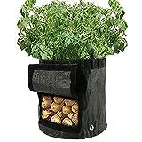 2PCS piantare patate Grow bag impermeabile PE giardinaggio vegetali vaso contenitore 7gallone con patta
