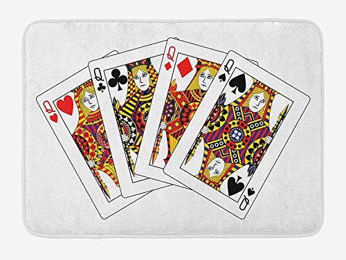 ASKYE Queen Bath Mat, Queens Poker Set Faces Hearts and Spades Gambling Theme Symbols Playing Cards, Plush Bathroom Decor Mat with Non Slip Backing, 23.6 W X 15.7 W Inches, Black Red Yellow