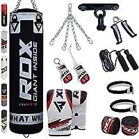 RDX Boxsack Set Gefüllt Kickboxen MMA Kampfsport Muay Thai Boxen mit Deckenhalterung Stahlkette Training Handschuhe 13 PC Schwer 4FT 5FT Punching Bag