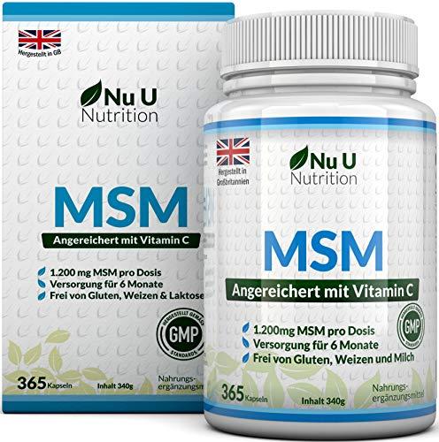 MSM Kapseln – 365 Methylsulfonylmethan Kapseln (6 Monatsvorrat) – MSM-Pulverkapseln mit Vitamin C - Hochdosierte 1.200mg MSM von Nu U Nutrition