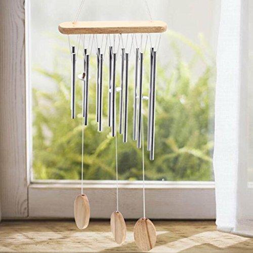 Silber 12 Röhren Metall Glocken Windspiel Im Freien Gartendekoration Geschenk Hängen - 2