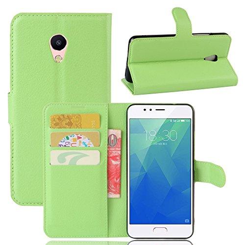 Guran® Custodia in Pu Pelle per Meizu M5S Smartphone avere Portafoglio e Funzione Stent Case Flip Cover Caso Copertura Protettiva-verde