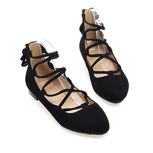 VogueZone009 Femme Rond Lacet Suédé Couleur Unie à Talon Bas Chaussures Légeres Noir