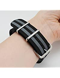 MetaStrap 2pcs 22mm NFC Nylon Watch Band NATO Strap (Black&grey/Navy Blue&White)