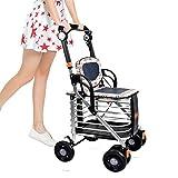 XYLUCKY Leichtes Aluminiumlegierung Faltbares bewegliches Trolley 4 Rad-Einkaufswagen / älterer Wanderer mit doppelter Bremse
