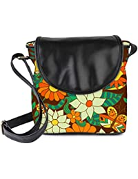 Snoogg Abstract Floral Background Womens Sling Bag Small Size Tote Bag