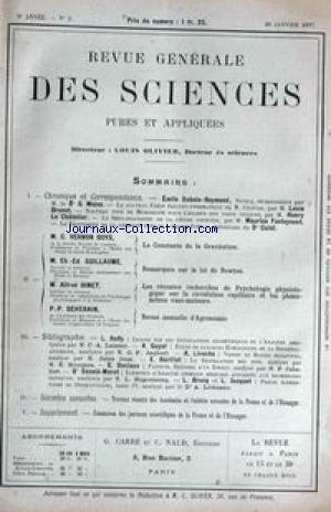 REVUE GENERALE DES SCIENCES [No 2] du 30/01/1897 - E. DUBOIS-REYMOND - M. FONTOYNONT - LE CHATELIER - DR CALOT - DR G. WEISS - C. VERNON BOYS - LA CONSTANTE DE LA GRAVITATION -CH.ED. GUILLAUME - LA LOI DE NEWTON - AL. BINET - P. DEHERAIN - AGRONOMIE.