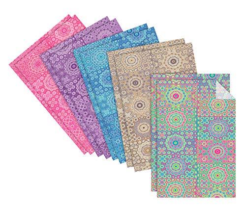 décopatch Papier-Set Ornamente ca. 30x20cm Spar-Pack Hippy farbenfroh Stärke 20g/qm ()