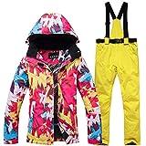 DULEE Damen Winter Wasserdichte Thermische Snowboard Anzug Ski Jacke Schneeanzug Ski Jumpsuit,Gelb S