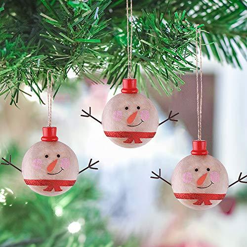 (Valery Madelyn Holz Weihnachtsdeko Schneemann Anhänger 3tlg 6CM Weihnachtssnhänger In den Wald Thema Weihnachtsbaum zum Hängen Weihnachtsdekoration für Christbaumschmuck)