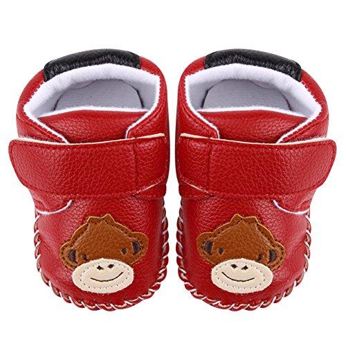 La Cabina Chaussures Bébé Fille garçon -Chaussure Bébé Fille Garçon Premier Pas -Chaussures Souples Confortable - Chaussures Antiglisse pour Hiver Printemps été (0-18 mois ) (12-18 mois, rouge) rouge