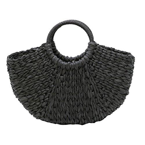Dexinx Frauen Sonder Attraktive Straw Sektor Handtasche Sommerferien-Mode Ecofriendly Woven Messenger Taschen Tasche Schwarz 39*9*26cm (Eco-friendly Messenger)