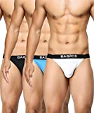 #10: BASIICS by La Intimo Men's Blue, Black, White Prime Thong (Pack of 3) BCSTH010C125_Large(32-34Inch)