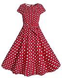 Kidsform Damen 1950er Vintage Retro Kleid Rockabilly Kleid Spitzen Vintage Partykleid Ärmellos Retro Cocktailkleid Rot EU 38-40/Etikettgröße M