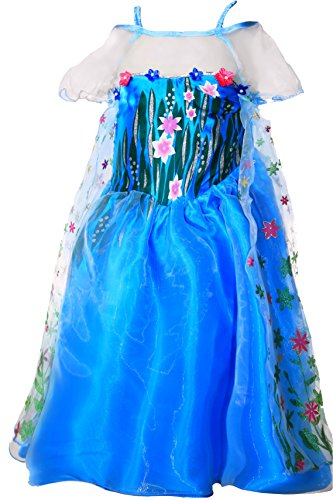 en Fever Elsa Kostüm Kleid Dress Prinzessin Blaugrün (134/140) (Elsa Frozen Kostüm Fever)