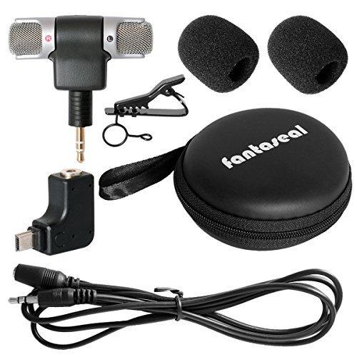 Kit de Micrófono Estéreo para Micrófono de Viaje para Mic de Entrevista Mini Estéreo Parabrisas de Micrófono con 3.5mm Adaptador de Mic Convertidor de Micrófono Estéreo para GoPro Hero 4/3+/3