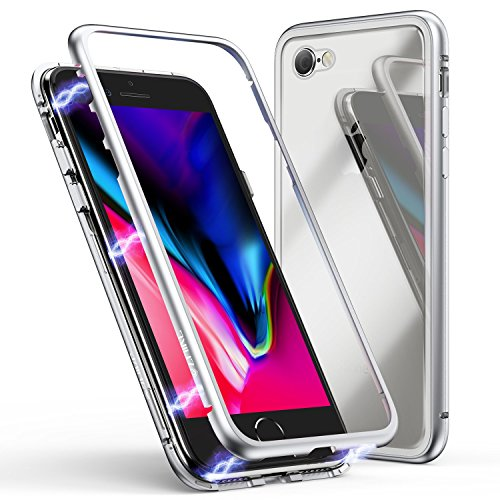 Custodia per iPhone 6 Plus,Custodia per iPhone 6s Plus, Custodia ad Assorbimento Magnetico ZHIKE Montatura in Metallo Ultra Sottile Vetro temperato con Cover Magnetica Integrata [Supporta la Ricarica Wireless] per Apple iPhone 6 Plus/6s Plus (Bianco Trasparente)