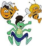 Unbekannt 3 TLG. Set _ Fensterbilder -  die kleine Biene Maja mit Grashüpfer Flip & Willi  - statisch haftend - selbstklebend + wiederverwendbar / Tiere Honig - Biene..