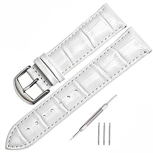 mysunny Lederarmband für Herren/Damen Uhren Original Watchband Mode echtes Leder kalbsleder uhrenarmband inkl Federstege & Werkzeug-dezent bombiertes Uhren Ersatzband Weiß / silber-18mm (Weiß Uhrenarmbänder)