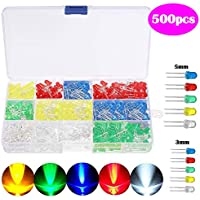 SunTop Diodo LED 500 Piezas LED Diodos, Multicolor Emisores Diffused y Clear Assorted LED Diodos Kit 5 Colores para Arduino de Luz 3mm/5mm (5 Colores)