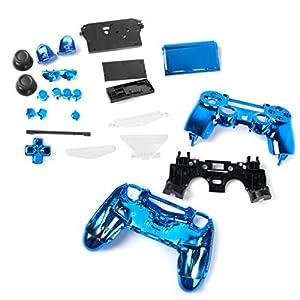 Voll Gehäuse Schale Fall Button Kit Ersatzteile für PlayStation 4 PS4 Drahtlos Regler – Blau