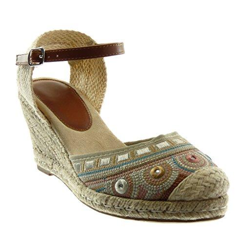 Angkorly Damen Schuhe Sandalen Espadrilles - Knöchelriemen - Seil - Geflochten - Bestickt Keilabsatz 8.5 cm - Grau W20-6 T 39