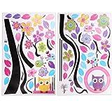 Sticker Mural Autocollant Amovible Chouette Fleur Arbre Branche Mur Décoration