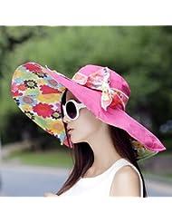 LKMNJ La Sra. Sun Software Sombreros Sombreros de Canto Grande plegable Pajarita Playa decoración ,el rojo