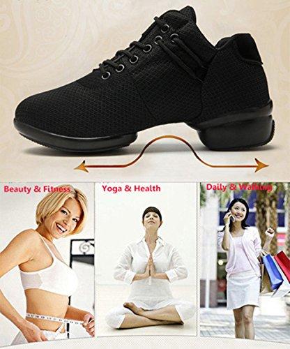 Sneakers Femme Jazz Danse Danse Fitness Chaussures Sport Fasten Mesh Talon Léger 3.5cm Noir Rose Rouge Blanc 35-41 Noir