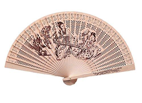 Hosaire Abanico de mano tallado de madera de bambu plegado   Abanico plegable de Madera Talla de manualidades de Madera Hueca con flor   Qin Femenina