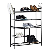 Relaxdays Shoe Rack Sandra with 5 Shelves, Metal Shoe Storage Unit, with Boot Compartment, For 16 Pairs of Shoes, Size: 101 x 85 x 26 cm, with Handles, Black, Metal