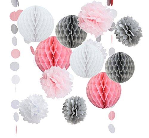 14Rosa Grau Weiß Deko Party Papier Pack Zeitgemäß Blume Honeycomb Ball Kreis Papier Girlande Mädchen Geburtstag Baby Dusche Hochzeit Dekoration für