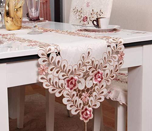 fer Tischläufer Stickerei Tisch Flagge Bett Bankett Party Dekoration (Color : A, Size : 40X175cm) ()